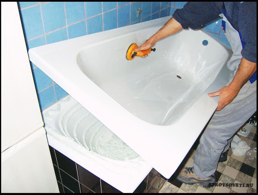 установить акриловый вкладыш в ванну