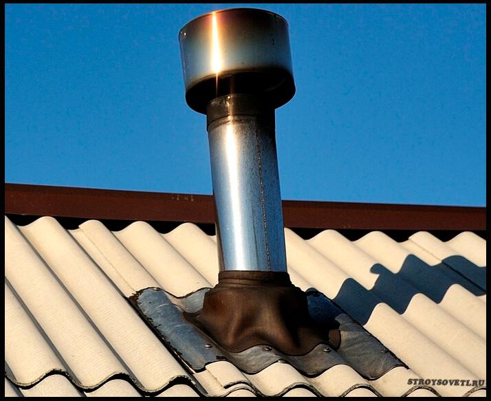 как заделать дымоход на шиферной крыше