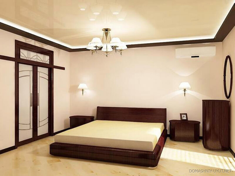каким цветом сделать натяжной потолок в спальне фото сберегающее тепло белье